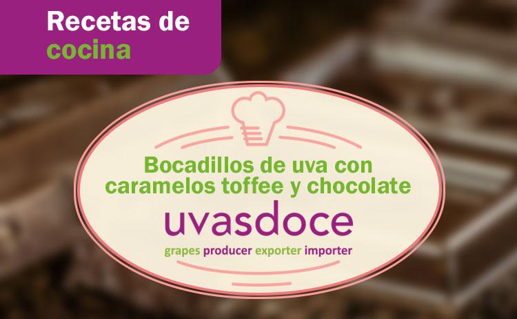 Receta bocadillos de uva con caramelos toffee y chocolate