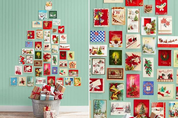 Árbol de Navidad con postales
