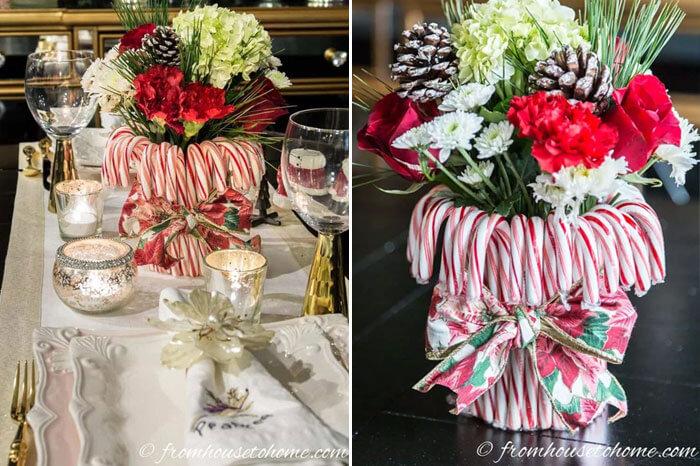 Centro de mesa con bastones de caramelos para Navidad