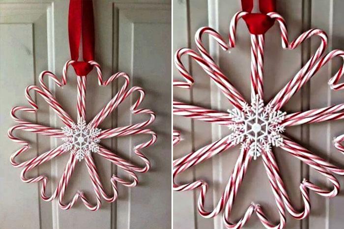 Corona de caramelos para colocar en la puerta