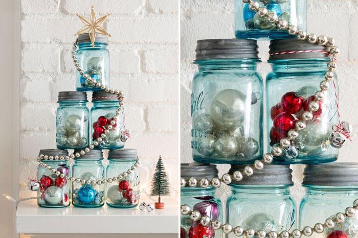 Mini árbol de Navidad con conservas